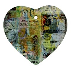 Old Newspaper And Gold Acryl Painting Collage Ornament (heart) by EDDArt