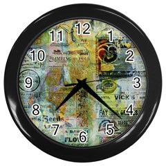 Old Newspaper And Gold Acryl Painting Collage Wall Clocks (black) by EDDArt