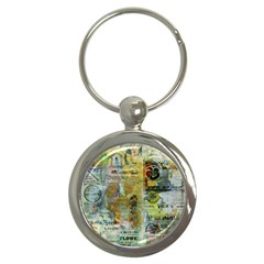 Old Newspaper And Gold Acryl Painting Collage Key Chains (round)  by EDDArt