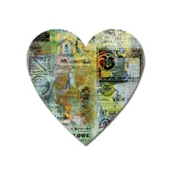 Old Newspaper And Gold Acryl Painting Collage Heart Magnet by EDDArt