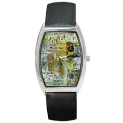 Old Newspaper And Gold Acryl Painting Collage Barrel Style Metal Watch by EDDArt