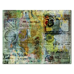 Old Newspaper And Gold Acryl Painting Collage Rectangular Jigsaw Puzzl by EDDArt