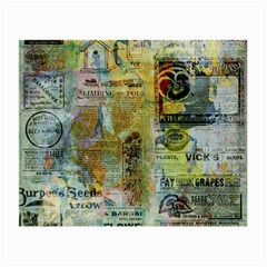 Old Newspaper And Gold Acryl Painting Collage Small Glasses Cloth by EDDArt