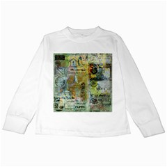 Old Newspaper And Gold Acryl Painting Collage Kids Long Sleeve T Shirts by EDDArt