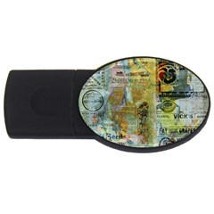 Old Newspaper And Gold Acryl Painting Collage Usb Flash Drive Oval (4 Gb) by EDDArt