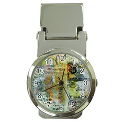 Old Newspaper And Gold Acryl Painting Collage Money Clip Watches by EDDArt