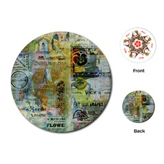 Old Newspaper And Gold Acryl Painting Collage Playing Cards (round)  by EDDArt