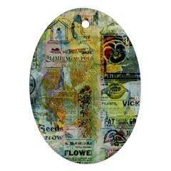 Old Newspaper And Gold Acryl Painting Collage Oval Ornament (two Sides) by EDDArt