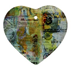Old Newspaper And Gold Acryl Painting Collage Heart Ornament (two Sides) by EDDArt