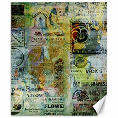 Old Newspaper And Gold Acryl Painting Collage Canvas 8  X 10  by EDDArt