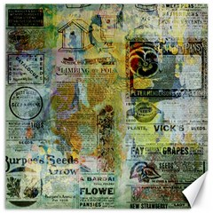 Old Newspaper And Gold Acryl Painting Collage Canvas 12  X 12   by EDDArt