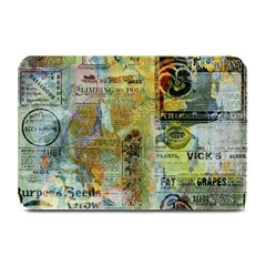 Old Newspaper And Gold Acryl Painting Collage Plate Mats by EDDArt