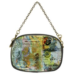 Old Newspaper And Gold Acryl Painting Collage Chain Purses (two Sides)  by EDDArt