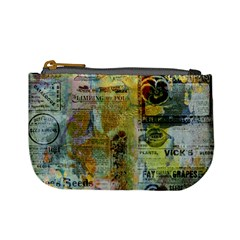 Old Newspaper And Gold Acryl Painting Collage Mini Coin Purses by EDDArt