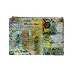Old Newspaper And Gold Acryl Painting Collage Cosmetic Bag (large)