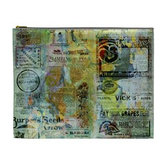 Old Newspaper And Gold Acryl Painting Collage Cosmetic Bag (xl) by EDDArt