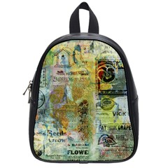Old Newspaper And Gold Acryl Painting Collage School Bags (small)  by EDDArt