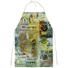 Old Newspaper And Gold Acryl Painting Collage Full Print Aprons by EDDArt
