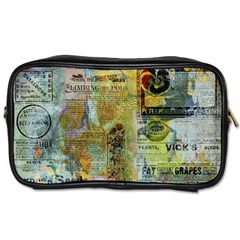 Old Newspaper And Gold Acryl Painting Collage Toiletries Bags by EDDArt