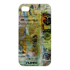 Old Newspaper And Gold Acryl Painting Collage Apple Iphone 4/4s Premium Hardshell Case by EDDArt