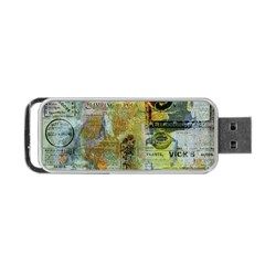 Old Newspaper And Gold Acryl Painting Collage Portable Usb Flash (one Side) by EDDArt