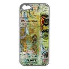 Old Newspaper And Gold Acryl Painting Collage Apple Iphone 5 Case (silver) by EDDArt