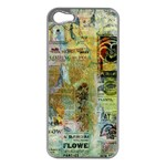 Old Newspaper And Gold Acryl Painting Collage Apple iPhone 5 Case (Silver) Front