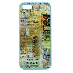 Old Newspaper And Gold Acryl Painting Collage Apple Seamless Iphone 5 Case (color) by EDDArt