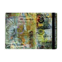 Old Newspaper And Gold Acryl Painting Collage Apple Ipad Mini Flip Case by EDDArt