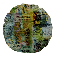 Old Newspaper And Gold Acryl Painting Collage Large 18  Premium Round Cushions by EDDArt
