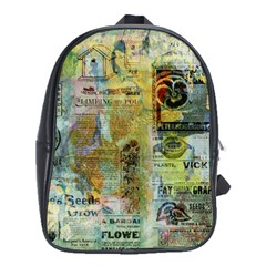 Old Newspaper And Gold Acryl Painting Collage School Bags (xl)  by EDDArt
