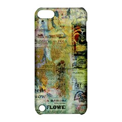 Old Newspaper And Gold Acryl Painting Collage Apple Ipod Touch 5 Hardshell Case With Stand by EDDArt