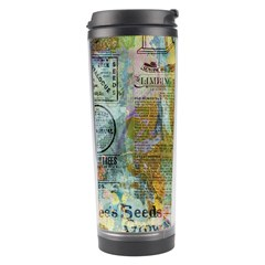 Old Newspaper And Gold Acryl Painting Collage Travel Tumbler by EDDArt