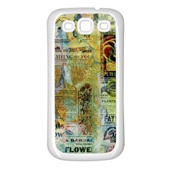 Old Newspaper And Gold Acryl Painting Collage Samsung Galaxy S3 Back Case (white) by EDDArt