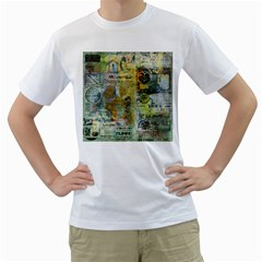 Old Newspaper And Gold Acryl Painting Collage Men s T Shirt (white)  by EDDArt