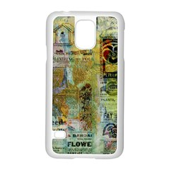 Old Newspaper And Gold Acryl Painting Collage Samsung Galaxy S5 Case (white) by EDDArt