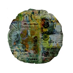 Old Newspaper And Gold Acryl Painting Collage Standard 15  Premium Flano Round Cushions by EDDArt