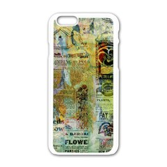 Old Newspaper And Gold Acryl Painting Collage Apple Iphone 6/6s White Enamel Case by EDDArt