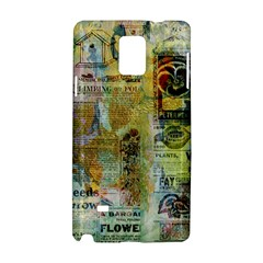 Old Newspaper And Gold Acryl Painting Collage Samsung Galaxy Note 4 Hardshell Case by EDDArt