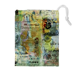 Old Newspaper And Gold Acryl Painting Collage Drawstring Pouches (extra Large) by EDDArt
