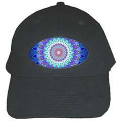 Power Flower Mandala   Blue Cyan Violet Black Cap by EDDArt