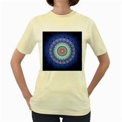 Power Flower Mandala   Blue Cyan Violet Women s Yellow T Shirt by EDDArt