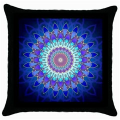 Power Flower Mandala   Blue Cyan Violet Throw Pillow Case (black) by EDDArt