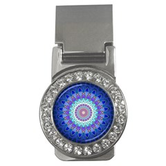 Power Flower Mandala   Blue Cyan Violet Money Clips (cz)  by EDDArt
