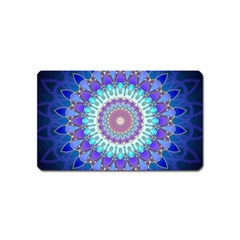Power Flower Mandala   Blue Cyan Violet Magnet (name Card) by EDDArt
