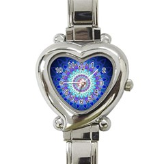 Power Flower Mandala   Blue Cyan Violet Heart Italian Charm Watch by EDDArt