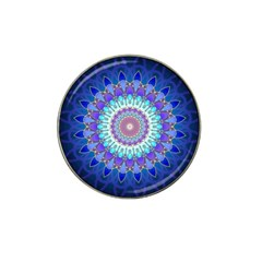 Power Flower Mandala   Blue Cyan Violet Hat Clip Ball Marker (4 Pack) by EDDArt