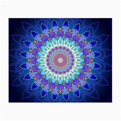 Power Flower Mandala   Blue Cyan Violet Small Glasses Cloth by EDDArt