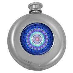 Power Flower Mandala   Blue Cyan Violet Round Hip Flask (5 Oz) by EDDArt