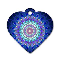 Power Flower Mandala   Blue Cyan Violet Dog Tag Heart (two Sides) by EDDArt